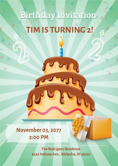 2nd birthday invitation template free