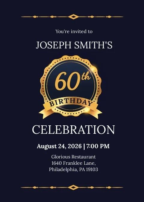 60th birthday invitation template free