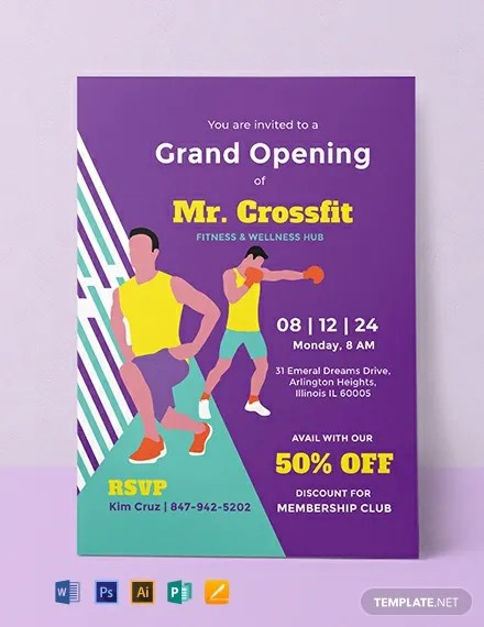 FREE Gym Opening Invitation Template Download 749 Invitations In PSD InDesign Word