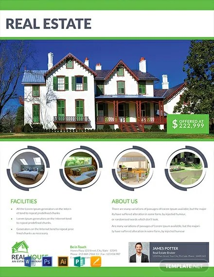 Free Real Estate House Sale Flyer Template Word Psd