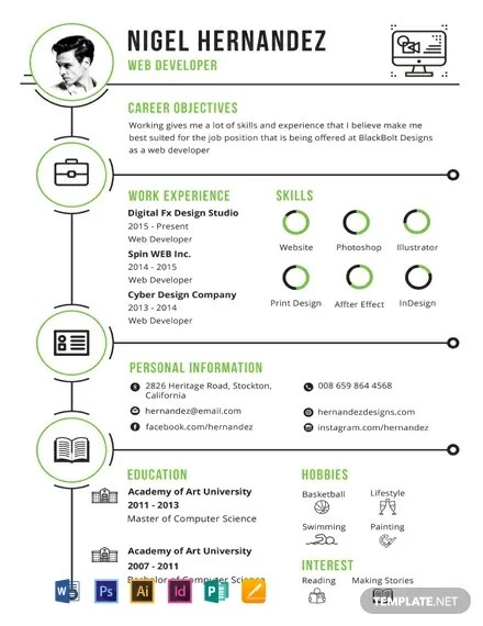FREE Minimalist Infographic Resume Template Word PSD InDesign Apple Pages Publisher