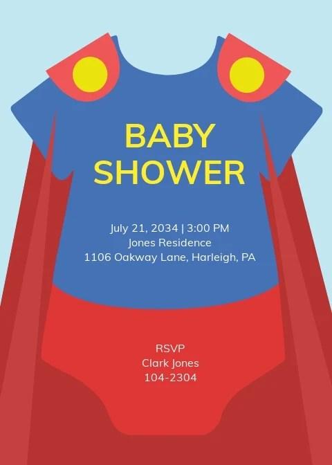 superhero onesie baby shower invitation