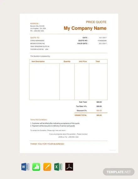 Free Ecommerce Website Quotation Template Pdf Word