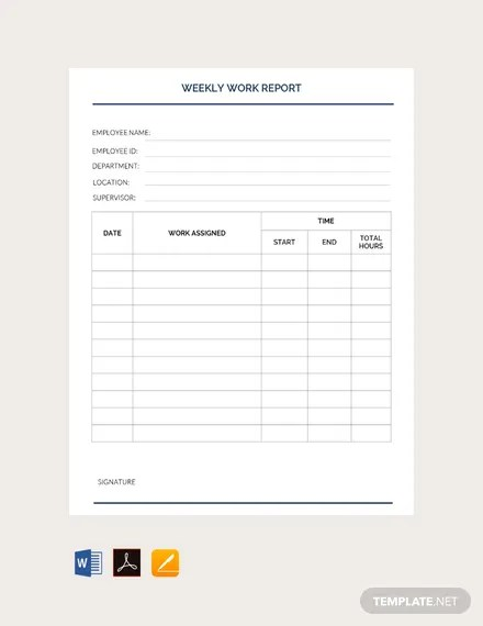 FREE Weekly Work Report Template Download 538 Reports In Word Apple Pages PDF