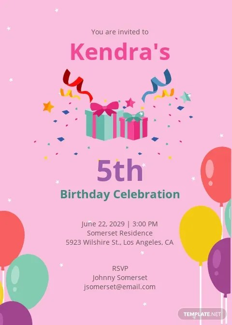 5th birthday invitation template free
