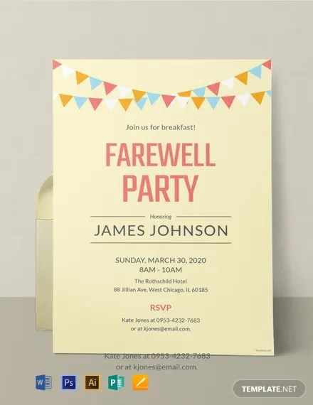 Free Farewell Breakfast Party Invitation Template