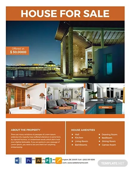 Free House Real Estate Flyer Template Word Psd Apple