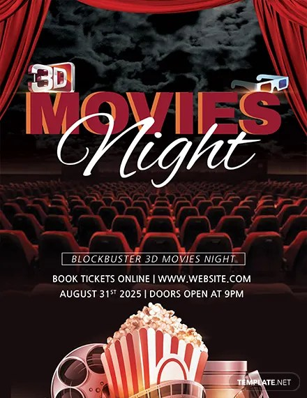 FREE 3D Movies Night Flyer Template Download 675 Flyers In PSD Illustrator Word Publisher