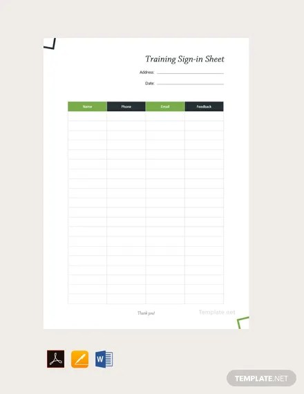 Free Training Sign Sheet Template Pdf Word Excel