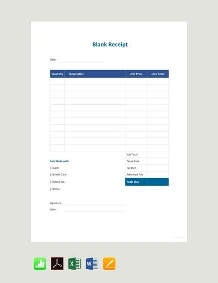 Free Blank Sale Receipt Template Pdf Word Excel