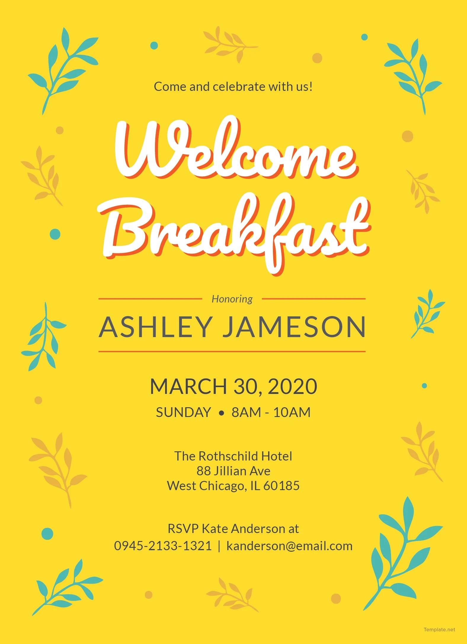 Welcome Breakfast Invitation Template In Adobe Photoshop Illustrator