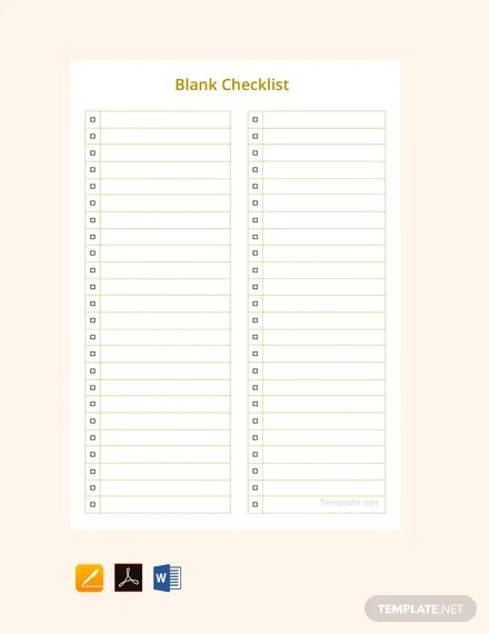 Free Blank Checklist Template Word Pdf Apple Pages