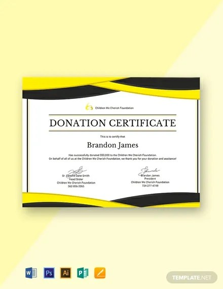 Free Donation Certificate Template Word Psd Indesign