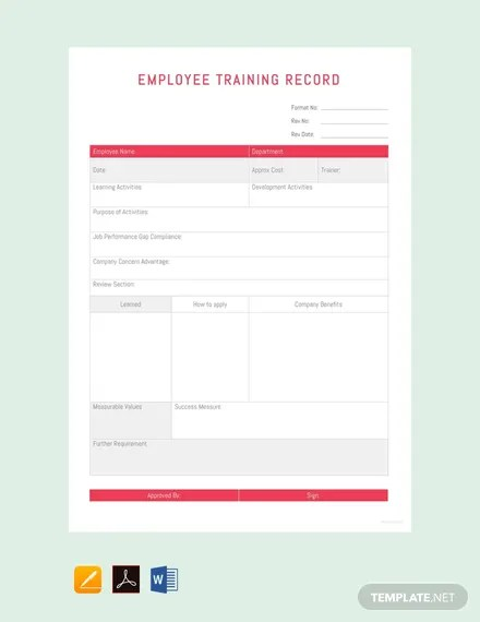 Free Employee Training Record Template Pdf Word Excel