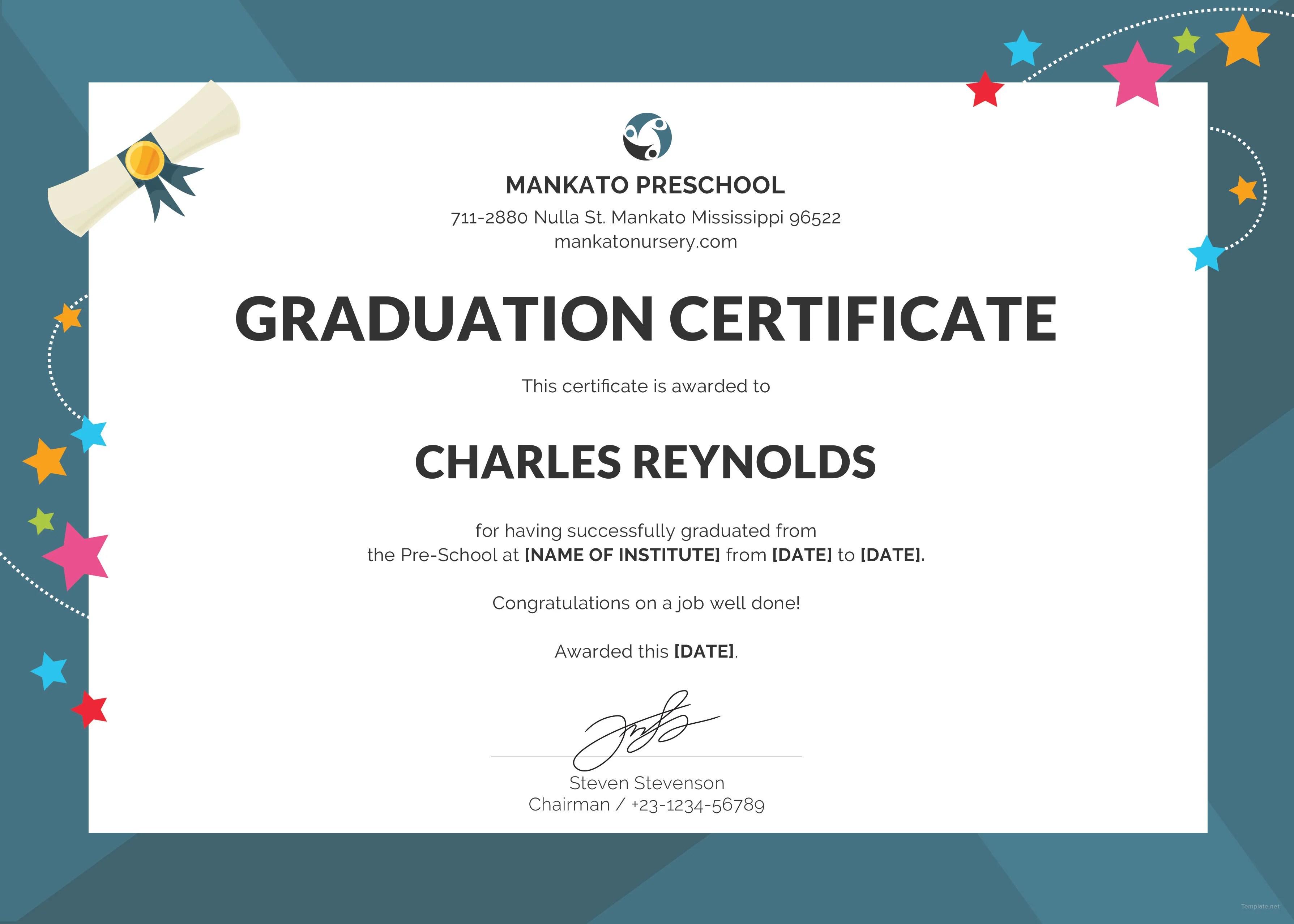 Free Preschool Graduation Certificate Template In PSD MS