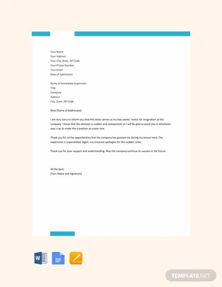 11 Two Weeks Notice Letter Templates