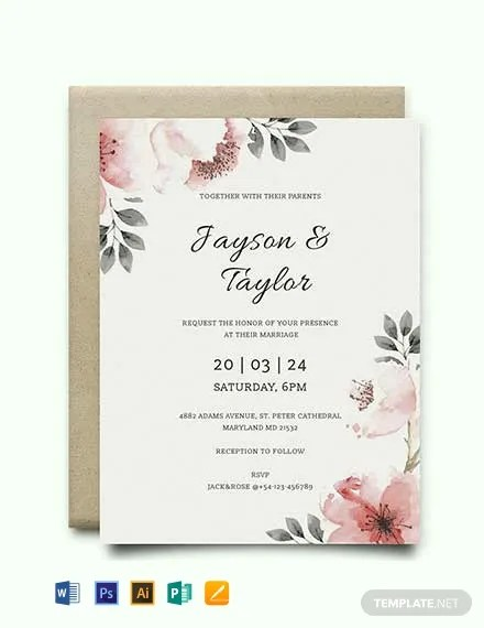 FREE Vintage Wedding Invitation Template Word PSD InDesign Apple Pages Publisher