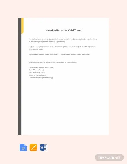 Free Notarized Letter Template For Child Travel Word