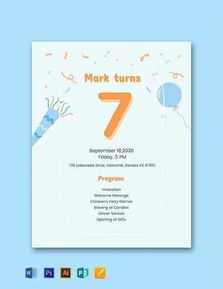 7th birthday program template word