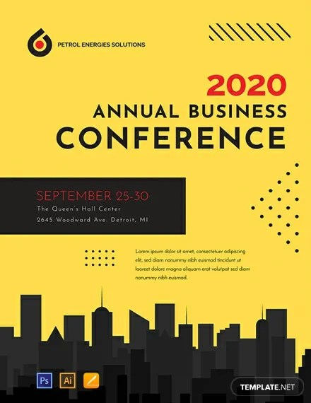 FREE Conference Poster Template PSD Apple Pages Illustrator