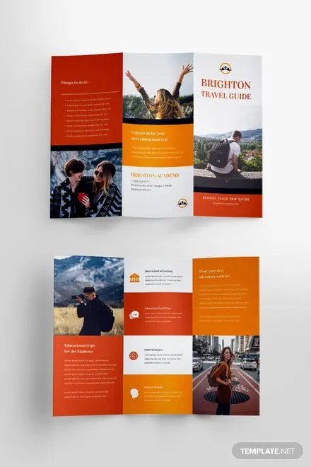 Free Brochure Templates   Download Ready Made   Template net Travel Brochure Template for Students