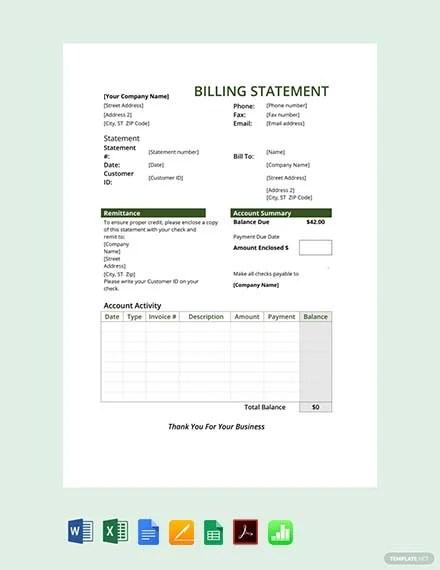 Free Billing Statement Template Pdf Word Excel
