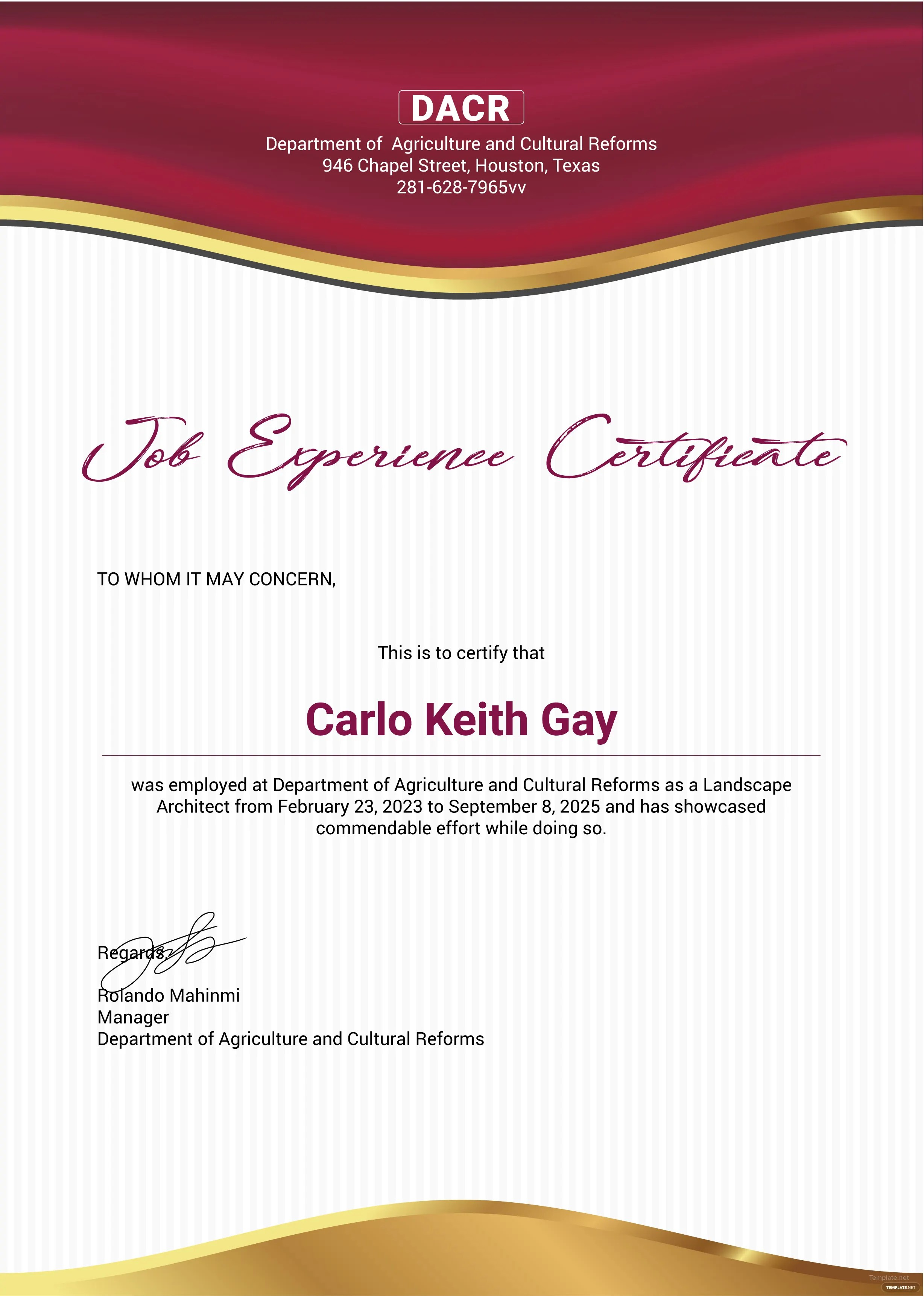 Free Job Experience Certificate Template In Adobe Photoshop Microsoft Word Microsoft Publisher