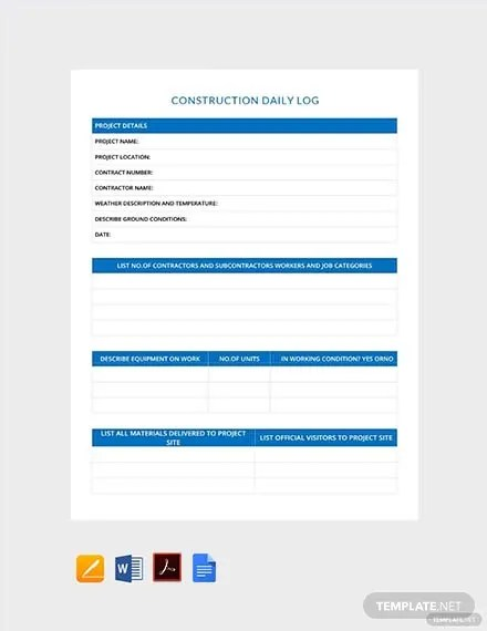 11 Free Construction Report Templates In Microsoft Word