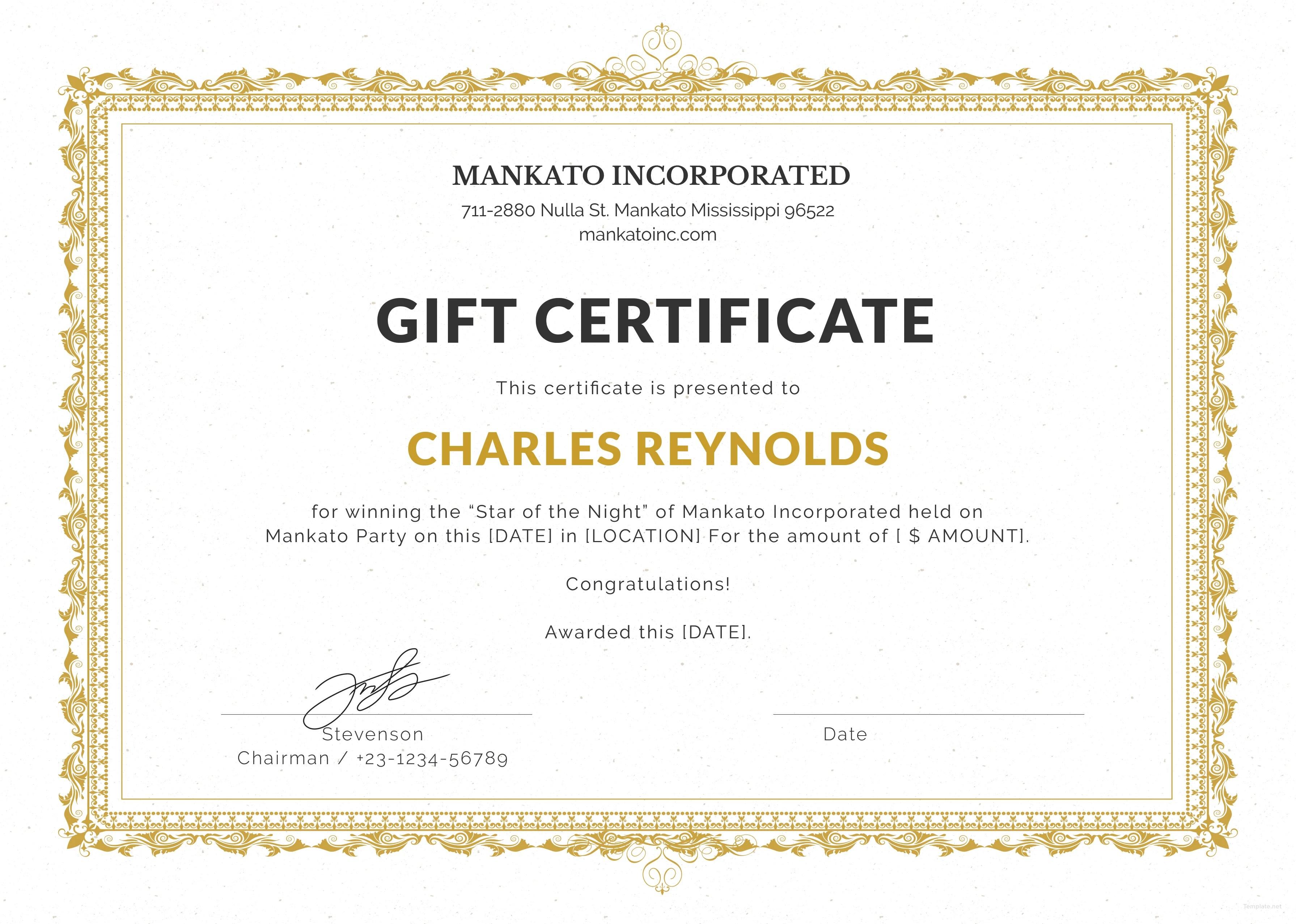Free Fancy Gift Certificate Template In Microsoft Word