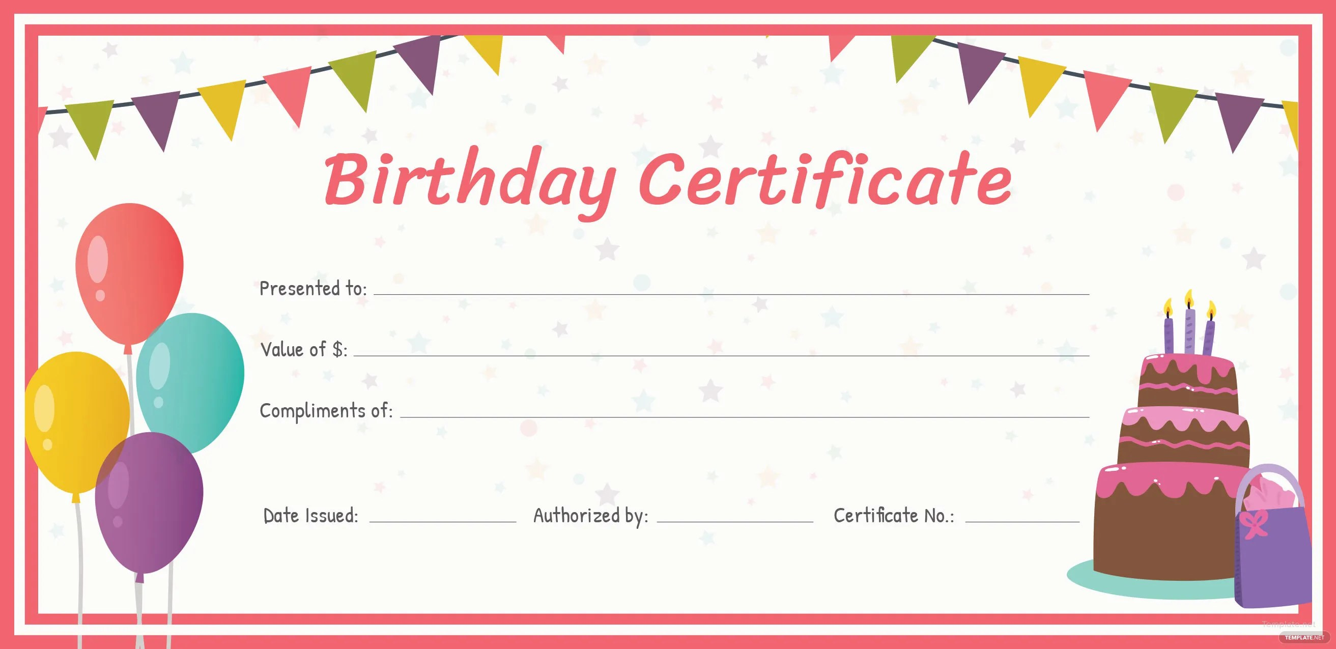 Happy Birthday Gift Certificate Print