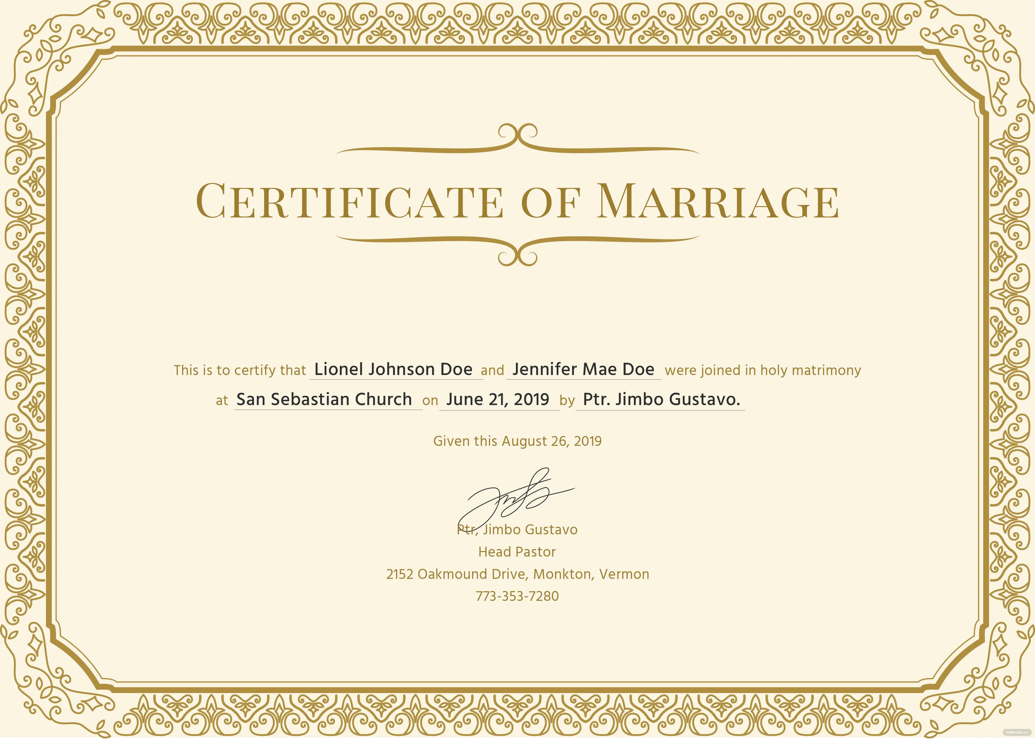 Free Marriage Certificate Template In Psd Ms Word