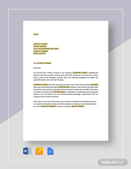Denial Of Request For Additional Discount Template Word