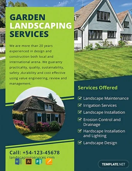 Free Landscaping Flyer Template Word Psd Apple Pages