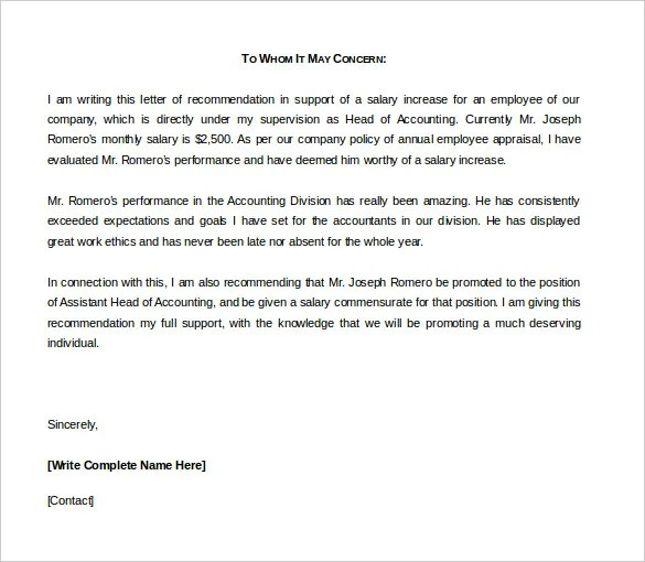 sample of employee recommendation letter