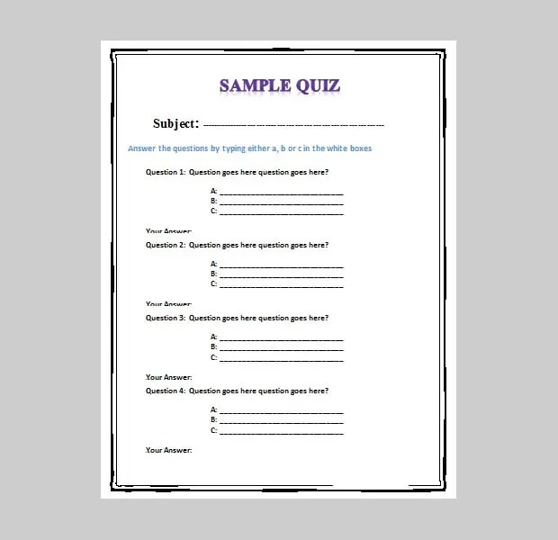 Free Quiz Template  sample spelling 14 documents in pdf word
