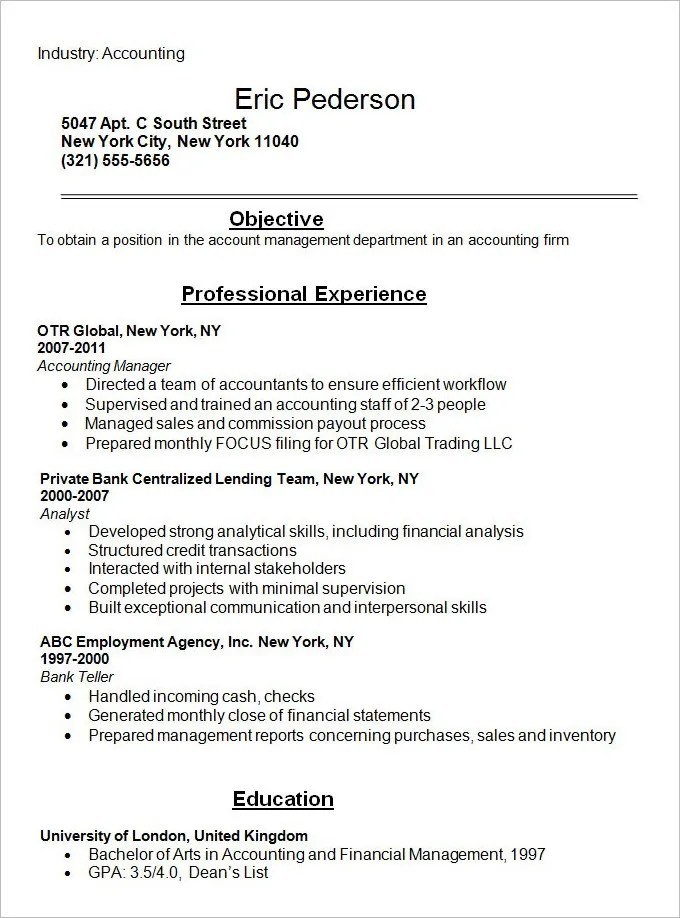Resume Example 34 Free Samples Examples Format