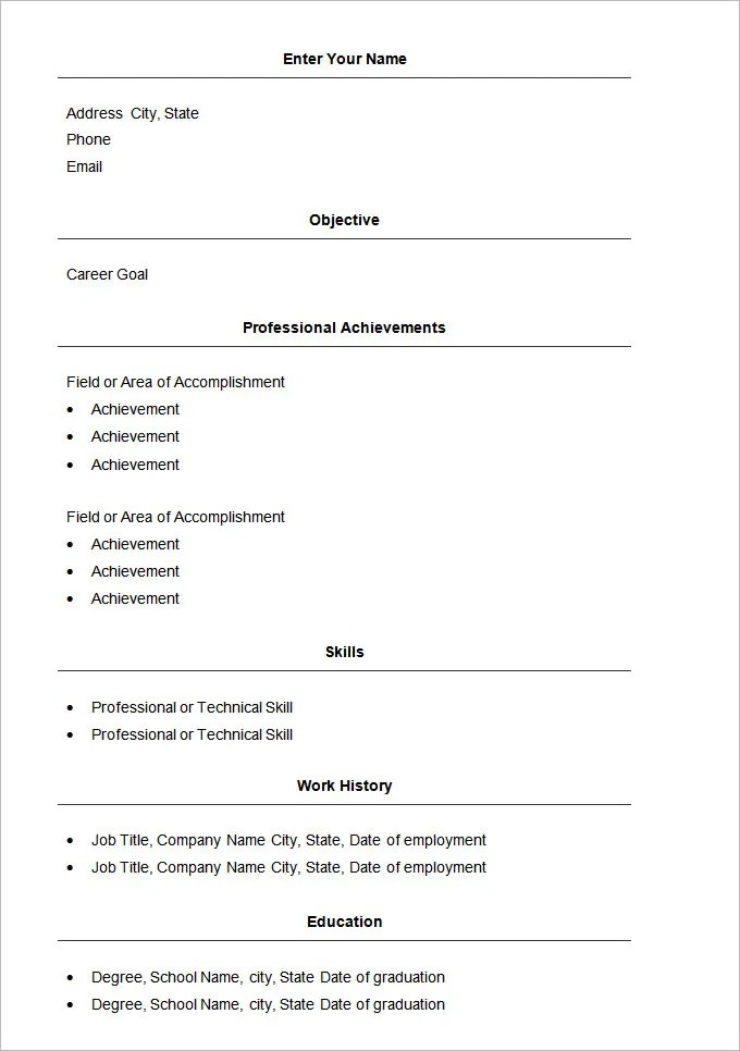 resume template free download template template simple resume