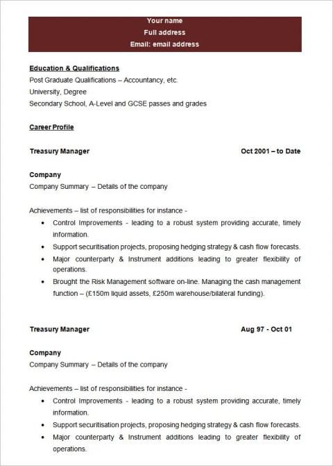Best Blank Resume Template Sample