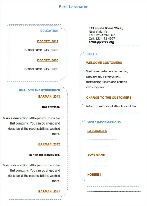 Good Fill In Blank Resume Template Word Format