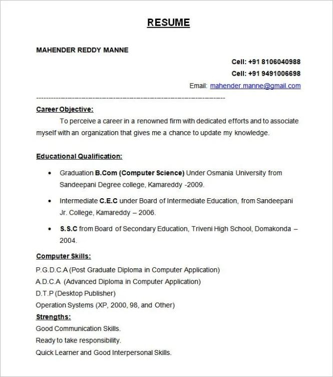 Resume Format Free Resume Sample