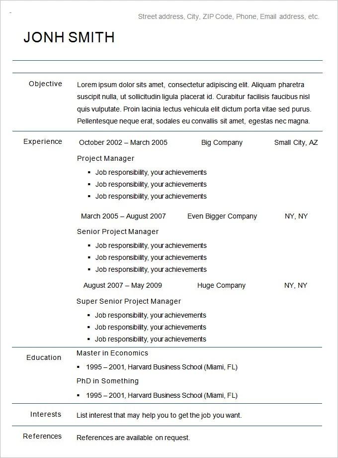 Free Chronological Resume Sample. Free Functional Resume