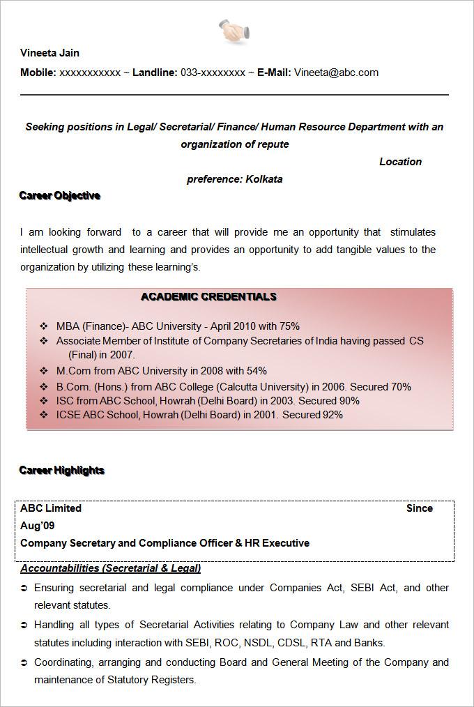 Fresher MBA Resume - Best Sample Resume