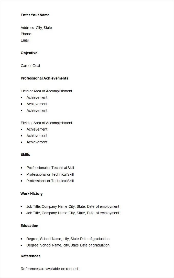Basic Resume Samples. Basic Sample Resume Template Basic Resumes