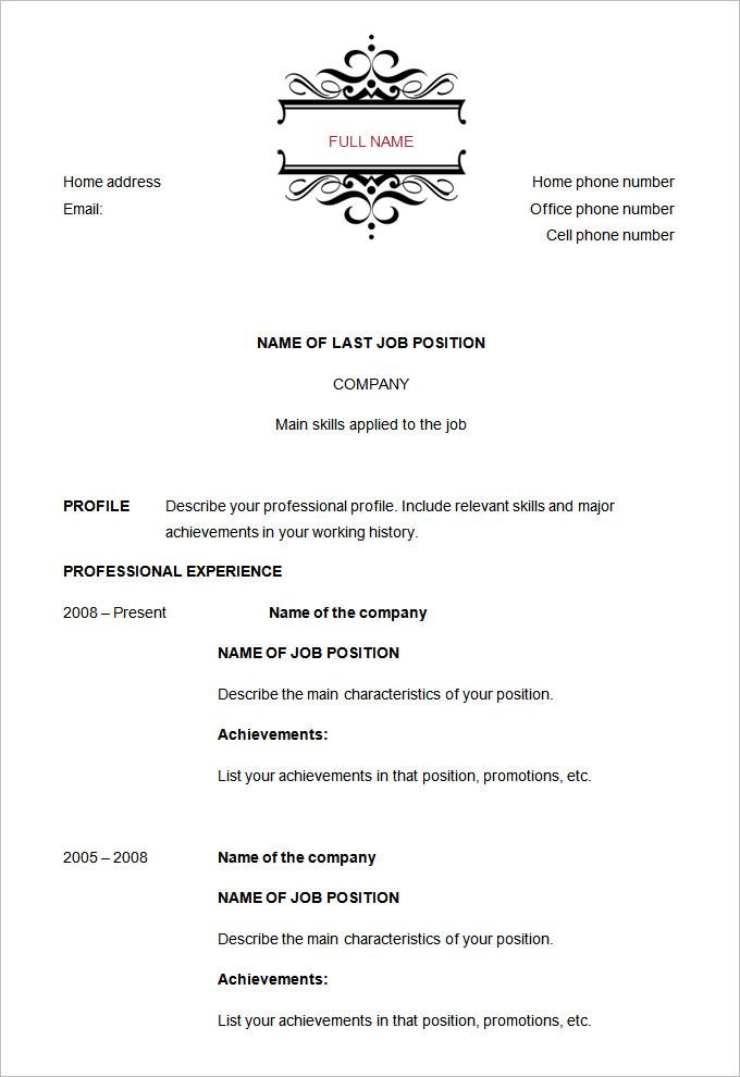 Chronological Order Resume Example. Chronological Resume Format