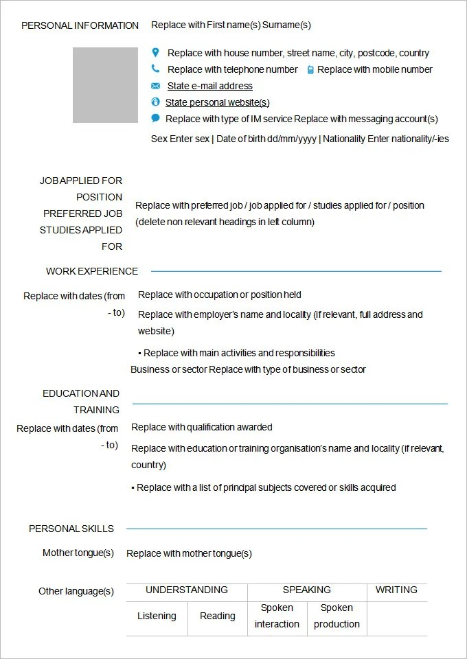 Filling Out Resume. Blank Resume To Fill Out The Right Sample Of
