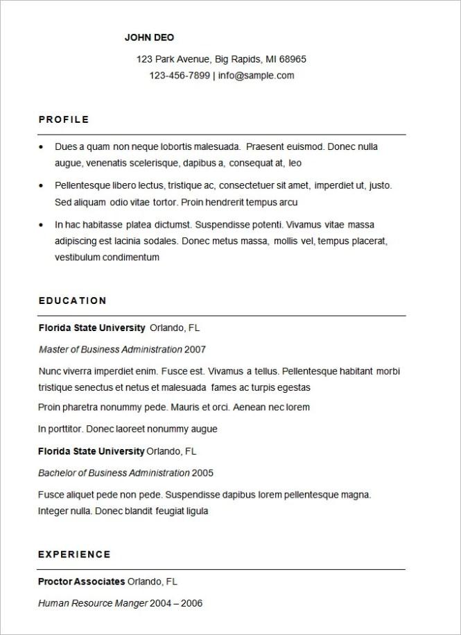 Sample Of Simple Resume Format - Resume Sample
