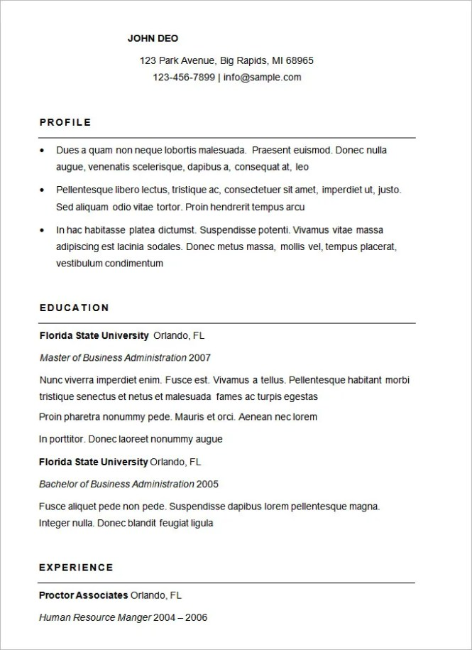 basic resume template 51 free samples examples format - Traditional Resume Sample