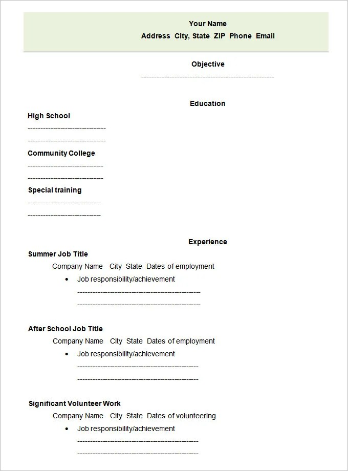 Pdf Job Resume Template. Teenage Resumes First Job Resume Examples
