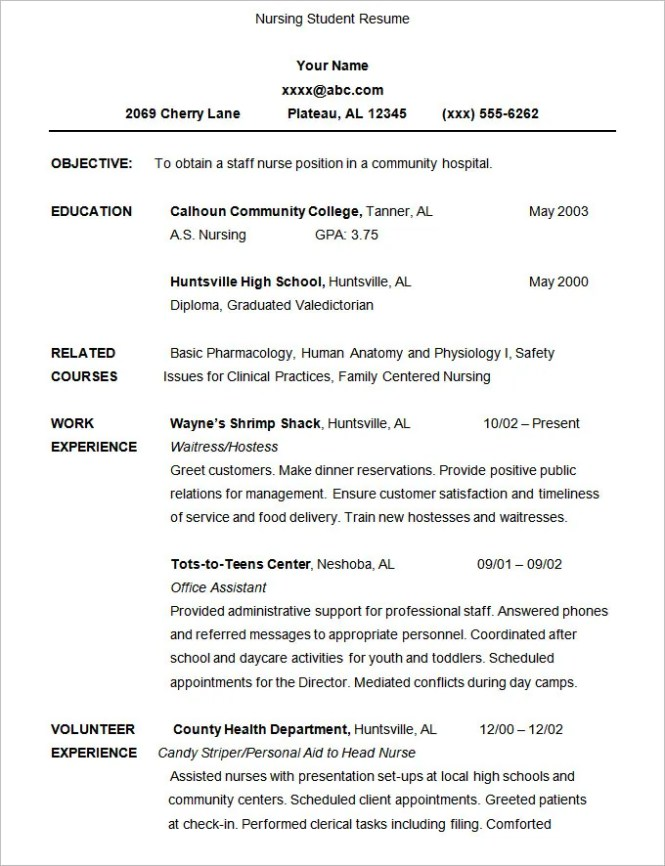 student resume template 21 free samples examples format - Resume Samples For Nursing Students