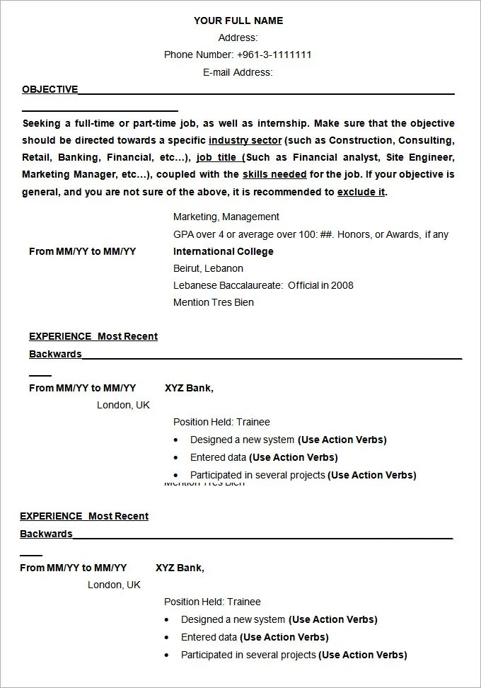 Ms Office Resume Examples. Ms Office Templates Free Resume Sample